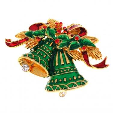 Christmas Bells Brooch / Pendant Articulated Enamel Rhinestone