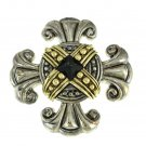 Maltese Cross Brooch Black Onyx Two Tone Premiere Designs
