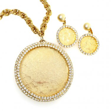 Medallion Set Necklace and Earring Clear Rhinestone Textured Gold Tone