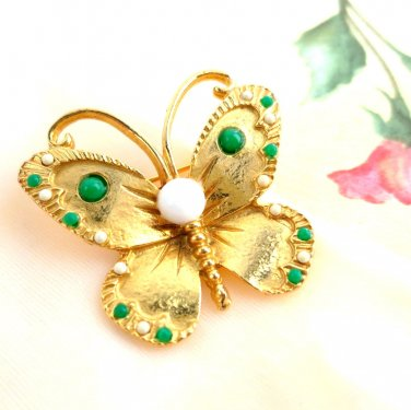 Butterfly Pin Gold Tone Green and White Faux Seed Pearls