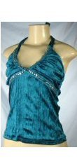 Forever Young - Junior Velveteen Halter Tops with Sequin Accented Bust line