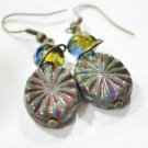Wire wrapped czech glass earrings