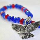Bracelet sapphire and red jade patriotic vintage eagle