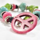 Bracelet chunky turquoise peace sign