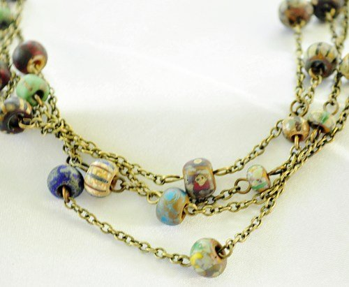 Necklace czech glass in neutrals with wire wrapped beads on antiqued brass chain
