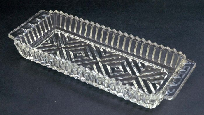 VINTAGE Cut Glass CELERY TRAY with SAWTOOTH EDGE