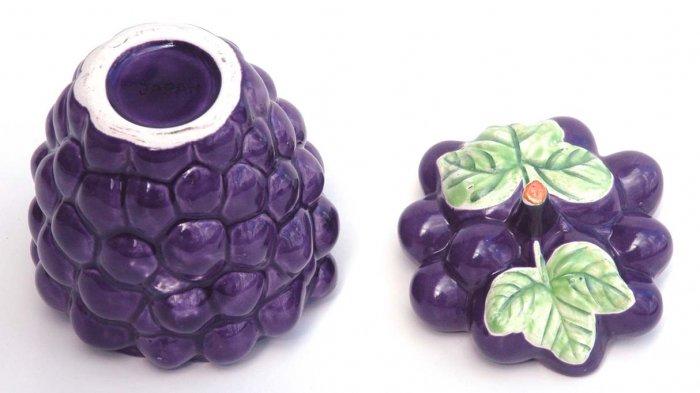 PURPLE Ceramic Grapes Jam Jelly Jar JAPAN     ~VINTAGE~