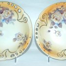 TWO Vintage Gold Gilt Reticulated Bowls FLORAL  ROSES