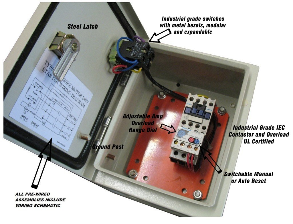 Elimia Dol Magnetic Motor Starter 10 15 20 Hp 480v 23 32a Hinged Iec Wiring Diagram Steel Enclosure