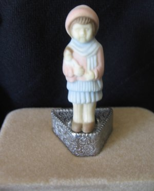 Vintage 1928 Porcelain Stick Pin Emma Belle in Box with Plinth