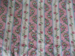 "Vintage Pink Stripe with Flowers Cotton Fabric 46"" x 68"""