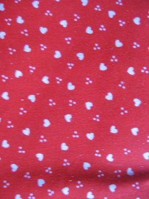 """Vintage Red with Small White Hearts Cotton Fabric 44"""" x 44"""""""