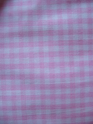 "Vintage Pink and White Gingham Cotton Fabric 44"" x 36"""