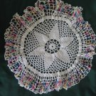 "Vintage 15"" White Pineapple Crocheted Doily with Blue Pink Yellow Varigated Edge"