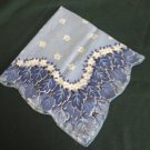 Vintage Blue Scalloped Edge Hanky with Leaves