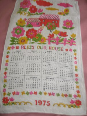 Retro Linen 1975 Calendar Towel Bless Our House Pink Red Flowers Malandrino