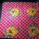 "Vintage Red Cotton Valance Large Yellow Flowers 34"" x 17"""
