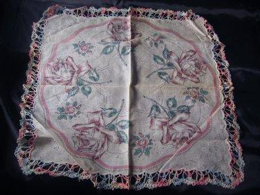 Vintage Large Rose Hankie with Nice Crochet Edging