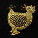 Vintage Stylized Art Moderne Rhinestone Rooster Pin