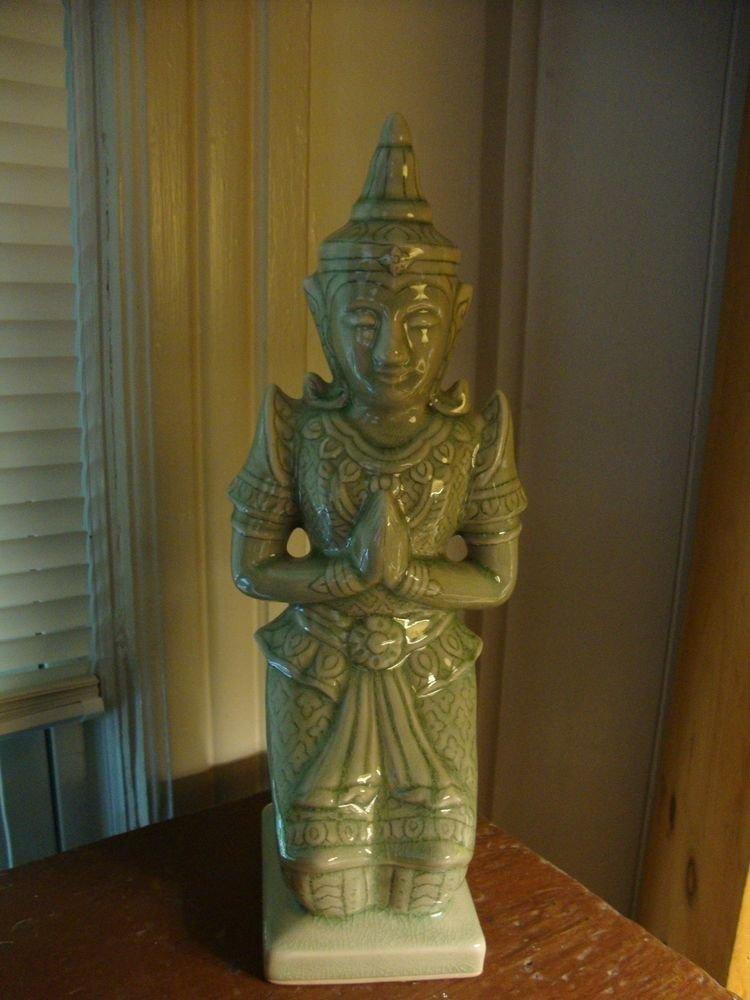 Vintage Thai Celadon Thailand Kneeling Buddha Figurine