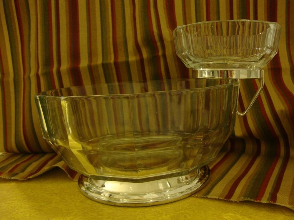 Vintage Mid Century Italian Italy Glass Silverplate Chip & Dip Serving Bowl