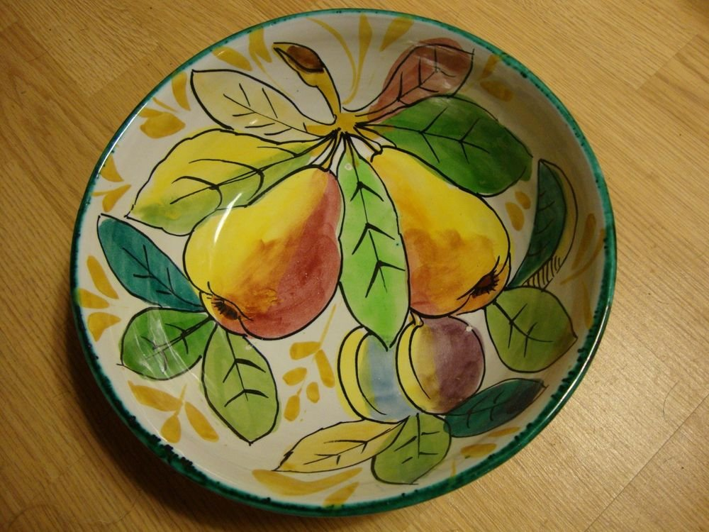 "Beautiful Vintage Italian Fruit Motif Bowl 9 3/4"" Diameter"