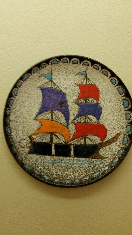 Vintage Italy Italian Decorative Ship Hanging Plate