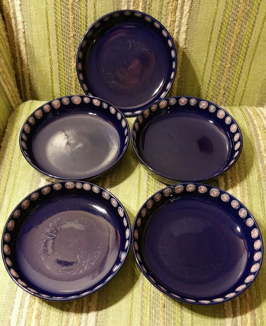Set of 5 Mid Century Melitta Germany Dark Blue Pink Dots Bowls