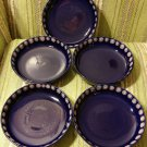 Set of 5 Mid Century Melitta Germany Dark Blue Pink Dots Bowls