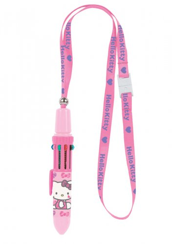 Hello Kitty 10C Ballpoint Pen with Lanyard - Pink Zebra