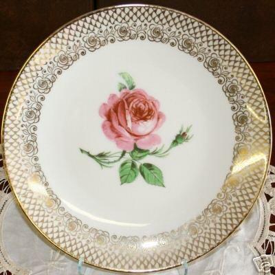 COLLECTOR BAVARIA PINK ROSE PLATE DISH MITTERTEICH GOLD
