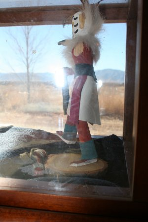 Cherry wood Kachina  Doll Shadow Box with Gold Vein Rocks