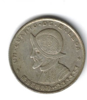 1961 Panama 90% Silver Un Cuarto de Balboa