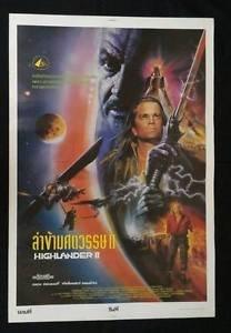 Original  Vintage Highlander II 1991 The Quickening Thai movie Poster