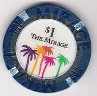 $1 Dollar Chip From The Mirage Hotel Casino Las Vegas, NV