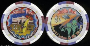 $1 Saddle West Aliens Saucer Las Vegas Casino Chip Uncirculated Limited Pahrump, NV