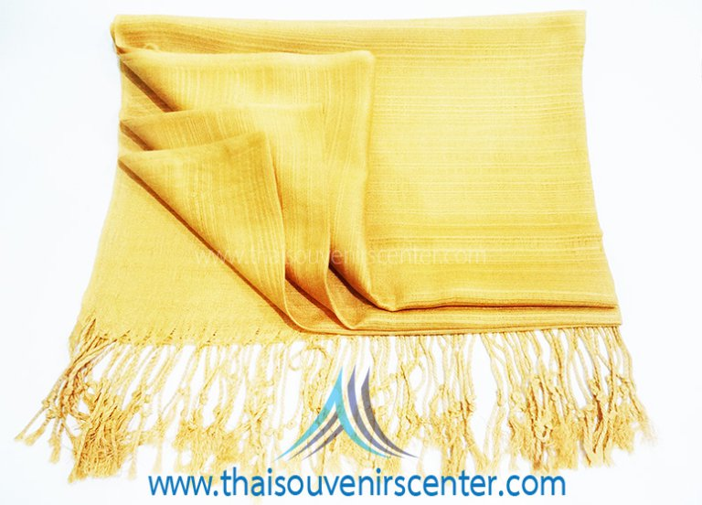 Thai Silk Scarf Shawl Plain Golden (Large)