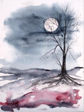 Moonlight halloween landscape painting print