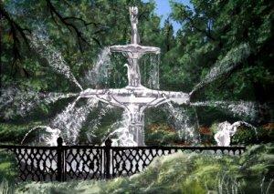 Forsyth Fountain Savannah GA oil painting art print