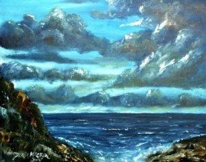 oil beach blue painting fine art print