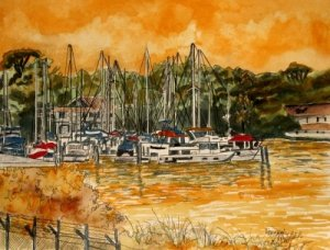 sienna sailboat nautical art print