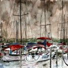 sailboats at night fishing art print