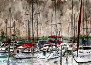 sailboats at night fishing art print
