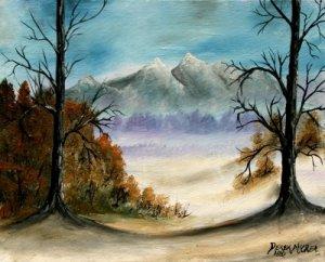 Mountains landscape oil painting art print