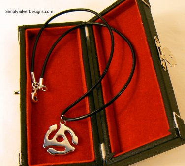 Sterling Silver Medium Adapter Pendant and Leather Necklace