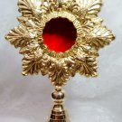 All Brass Scalloped Leaf Reliquary-Monstrance-GORGEOUS!