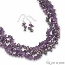 Amethyst and Cultured Freshwater Pearl Necklace and Earring Set