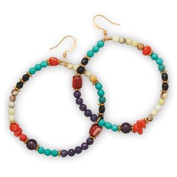 Multistone Fashion Wire Earrings
