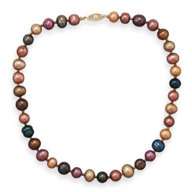 "16"" 14/20 Gold Filled Multicolor Cultured Freshwater Pearl Necklace"