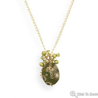 """20"""" Handmade Gold Filled Necklace with Rainforest Jasper, Pearls, and Peridot"""